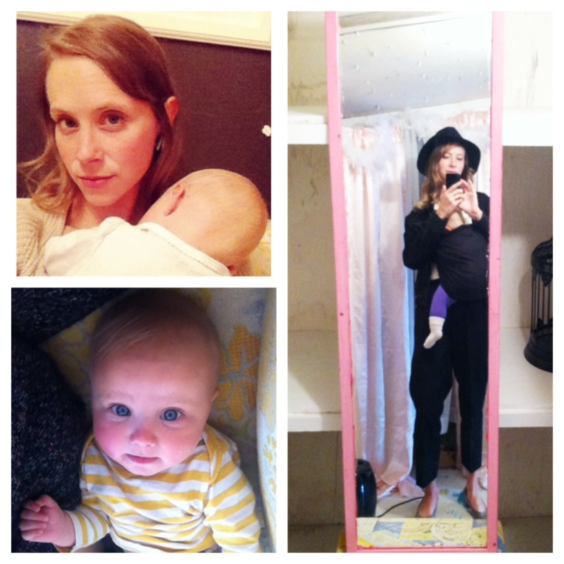 Clockwise:  Valentine's Day night cuddling with Lu while Joshua is chaperoning the high school dance; in the changing room of our shop, with Lu in her sling and me in my killer hat; Lu gazing up at me <3