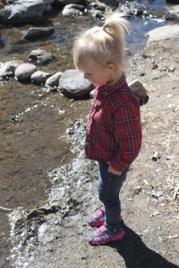 Throwing rocks in the river while we wait for daddy.