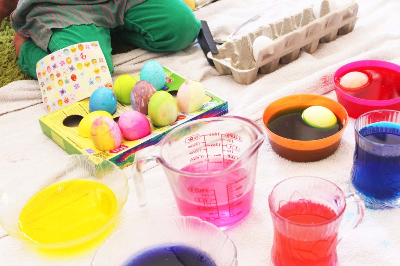 Egg dying at the party.