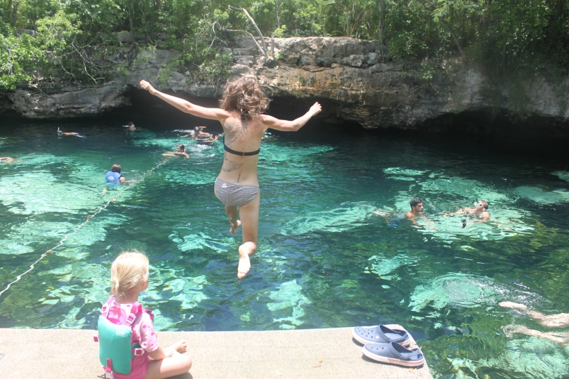 Mommy jumps into Cenote Azul